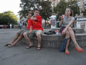 Team relaxes after ice cream at Tichy