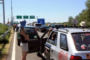Waiting at the Serbian Border in 90-100 degree heat.