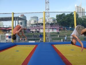 Sarah and Anand work on their circus act